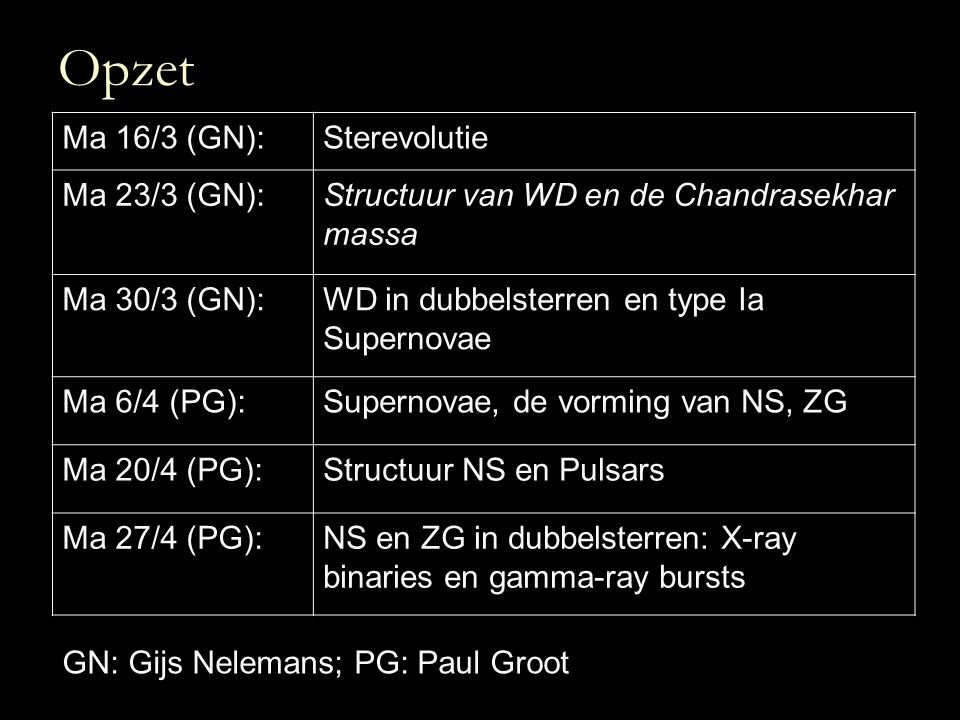 Opzet Ma 16/3 (GN): Sterevolutie Ma 23/3 (GN):