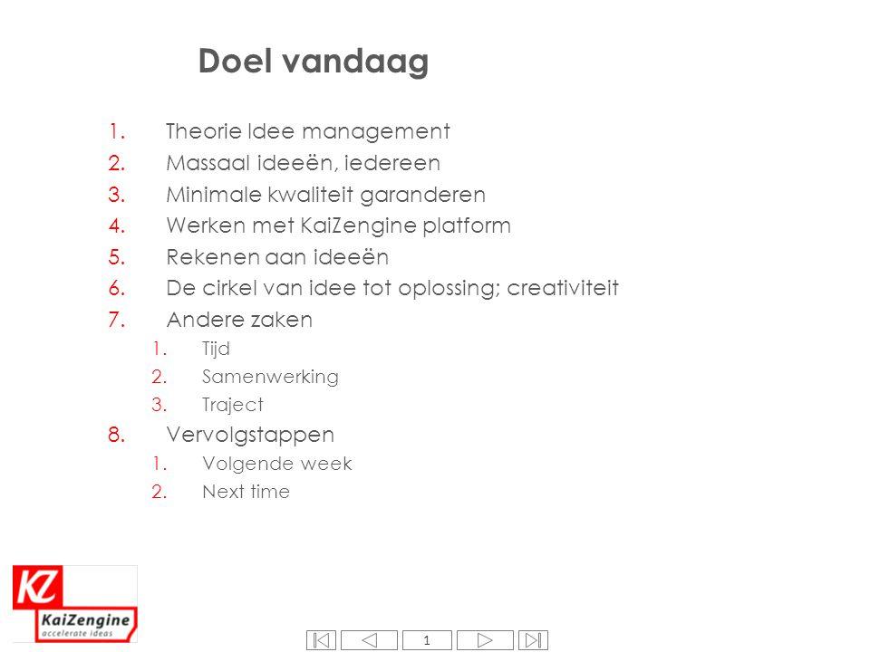 Super Doel vandaag Theorie Idee management Massaal ideeën, iedereen @VR68