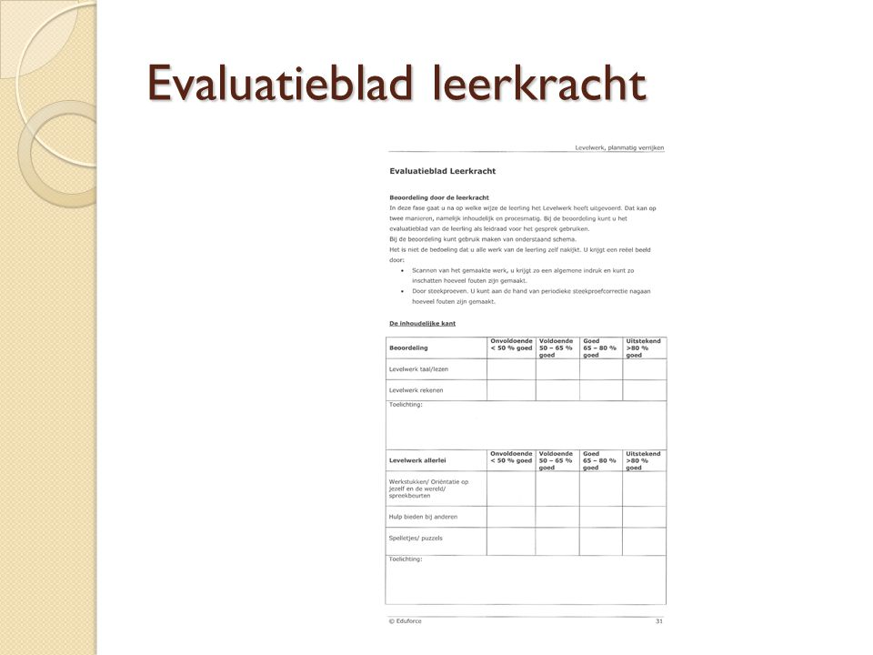 Evaluatieblad leerkracht