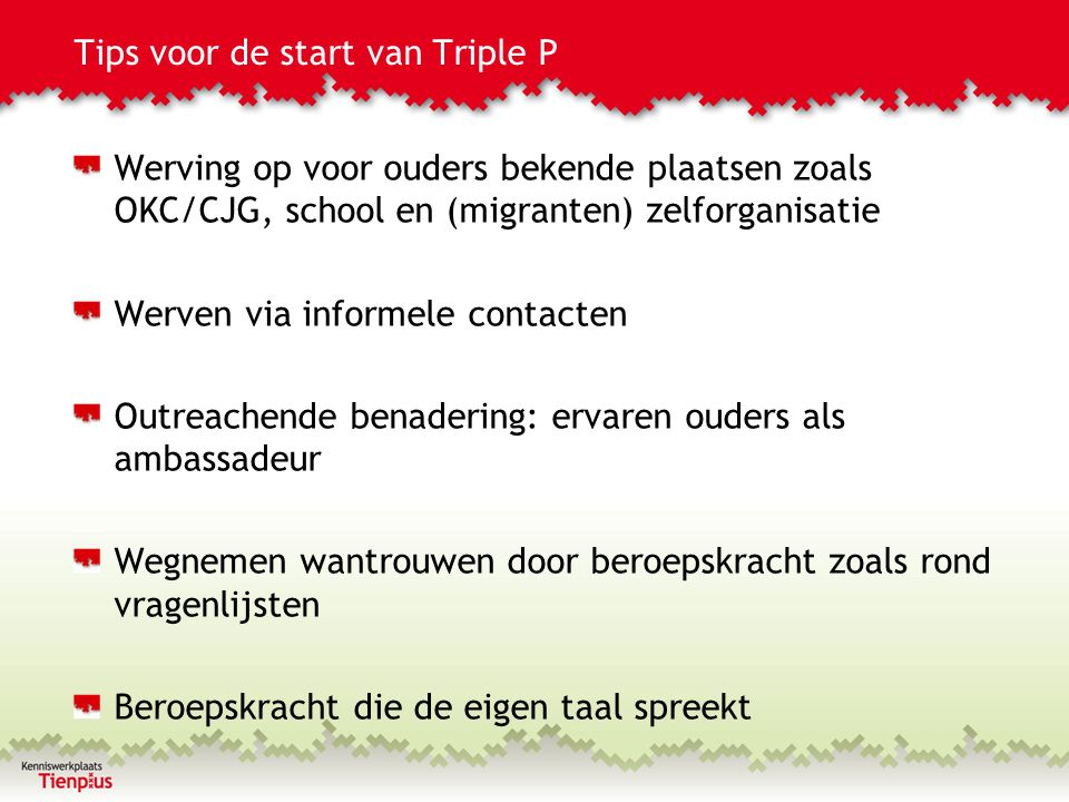 Tips voor de start van Triple P