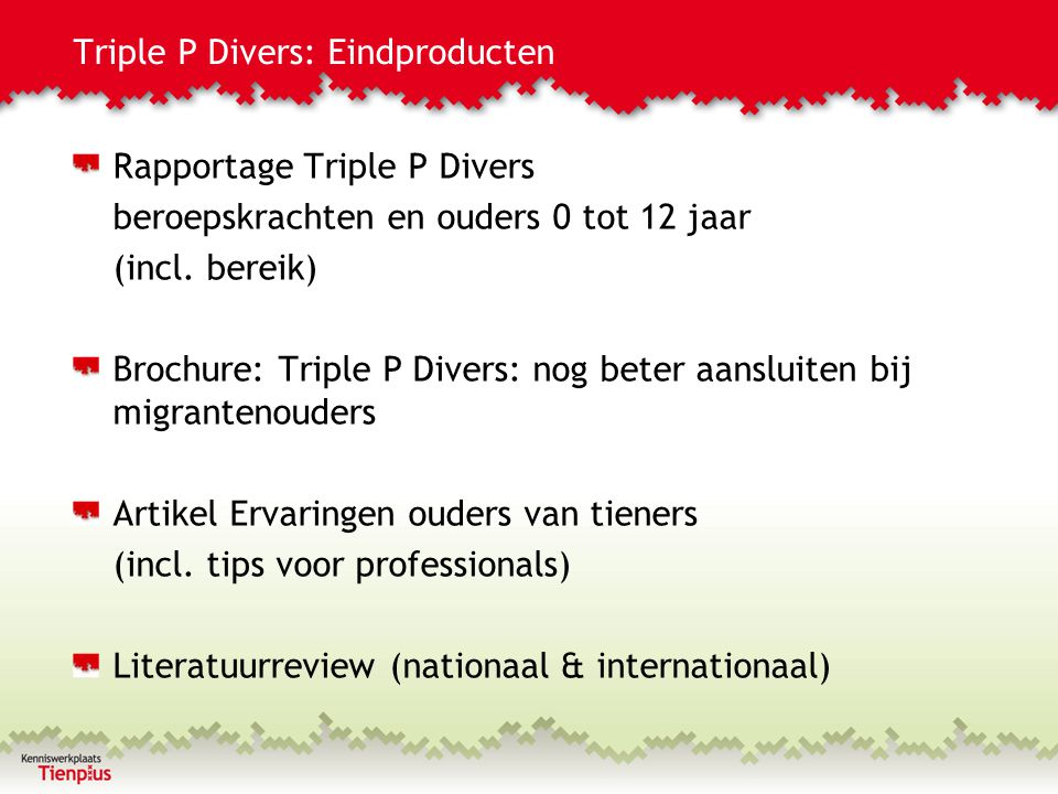 Triple P Divers: Eindproducten
