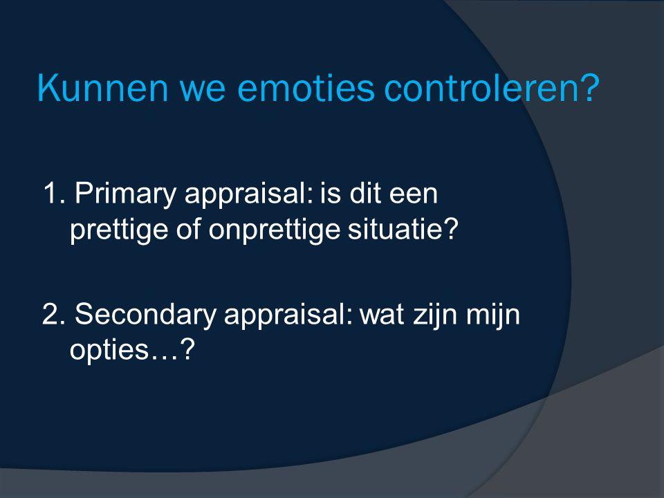 Kunnen we emoties controleren