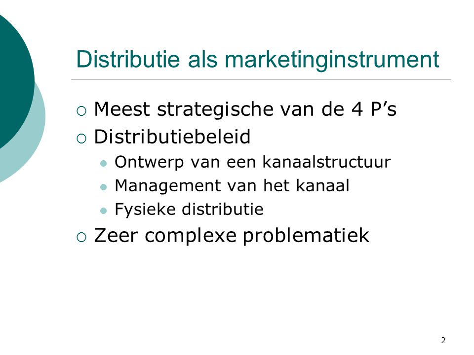 Distributie als marketinginstrument
