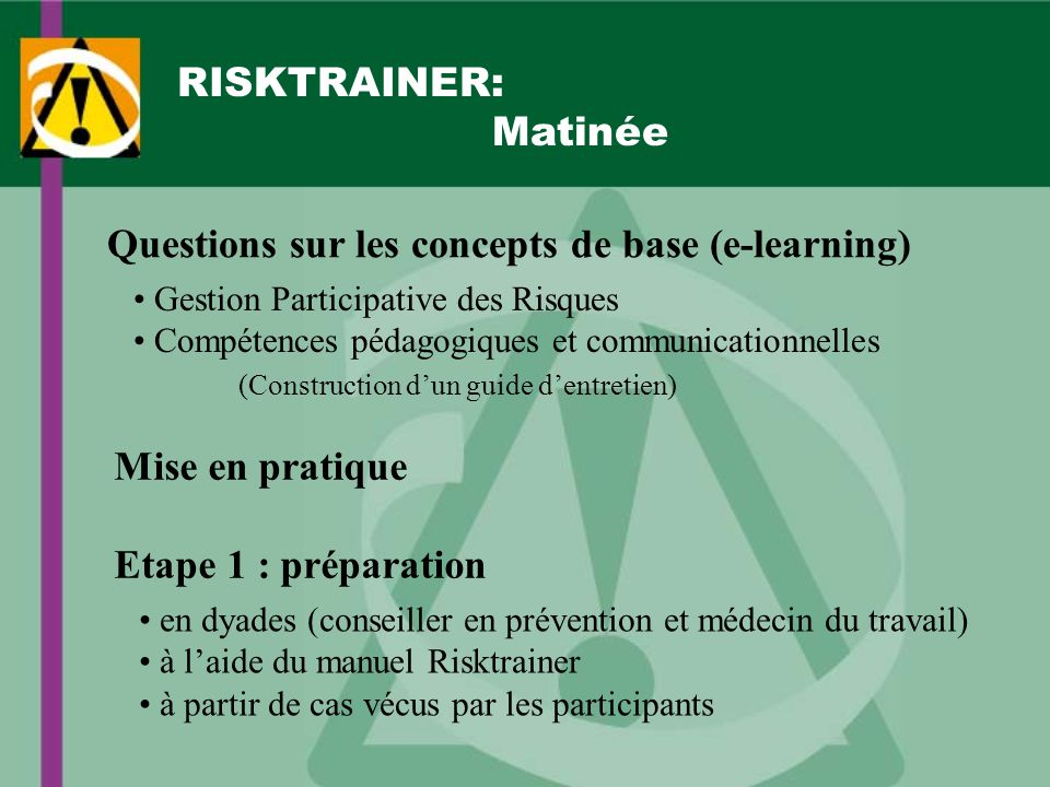 Questions sur les concepts de base (e-learning)