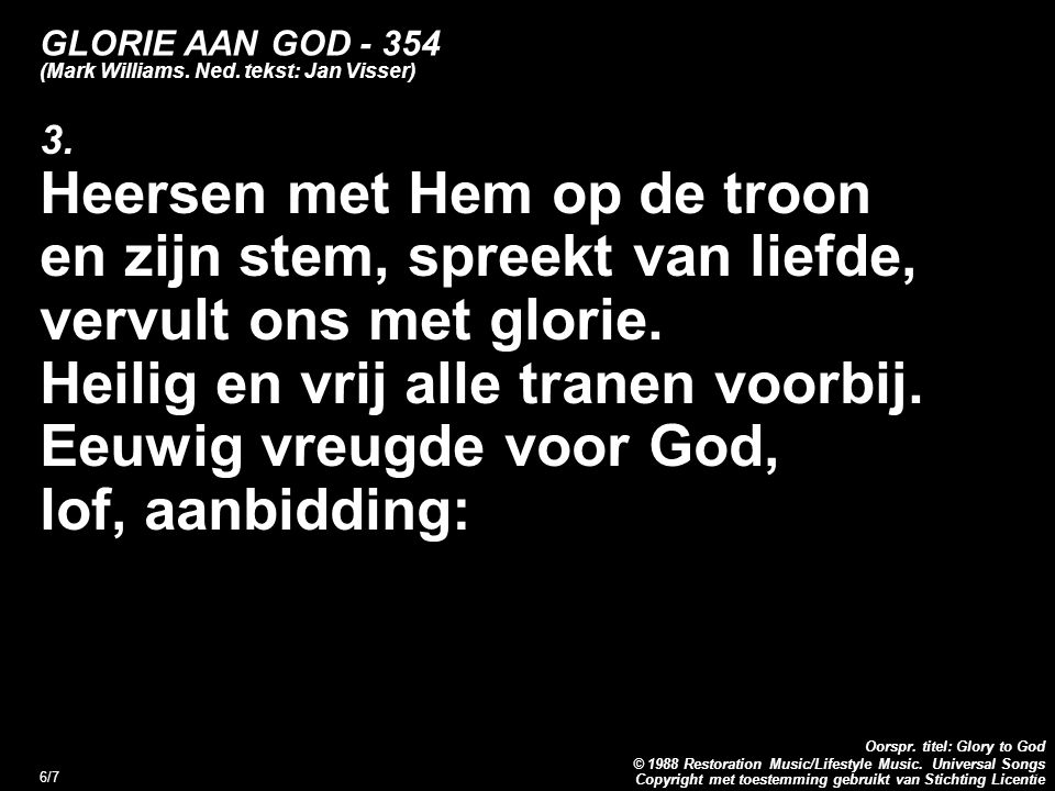 GLORIE AAN GOD (Mark Williams. Ned. tekst: Jan Visser)