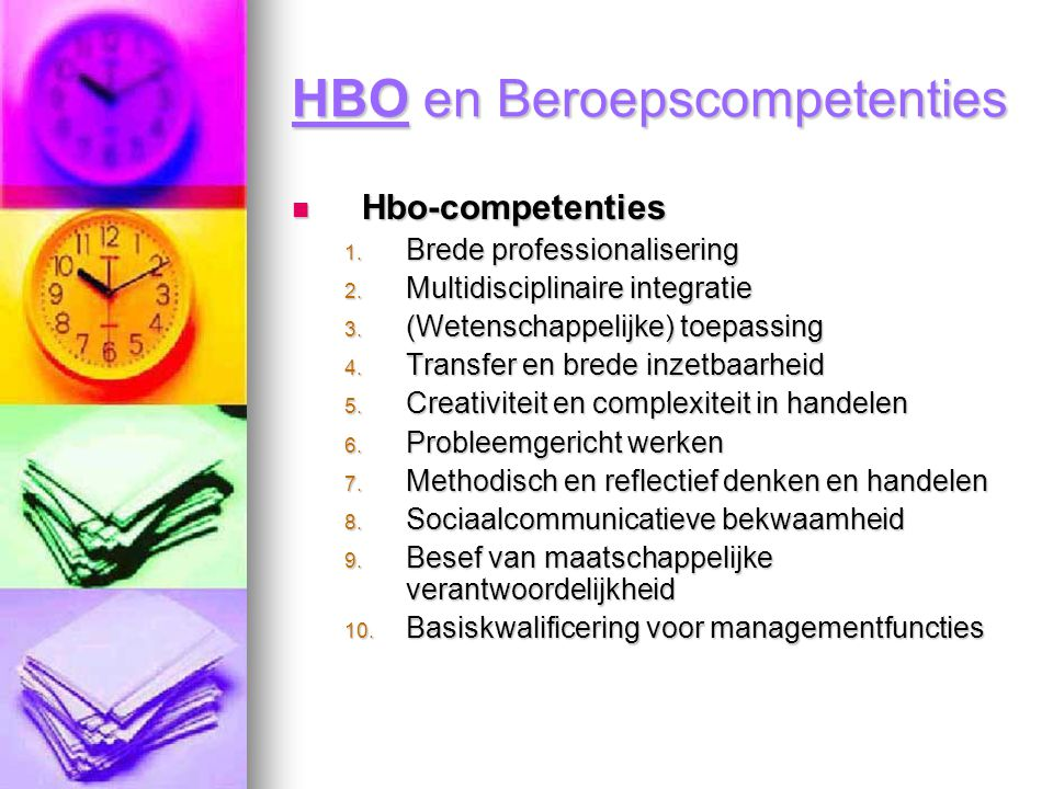 HBO en Beroepscompetenties