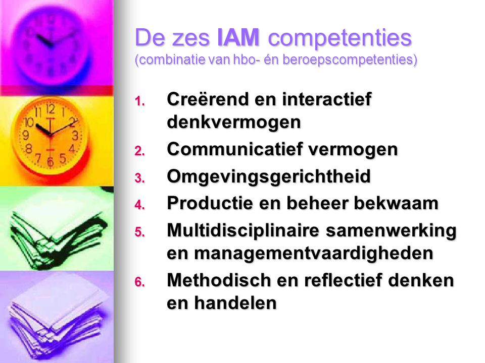 De zes IAM competenties (combinatie van hbo- én beroepscompetenties)