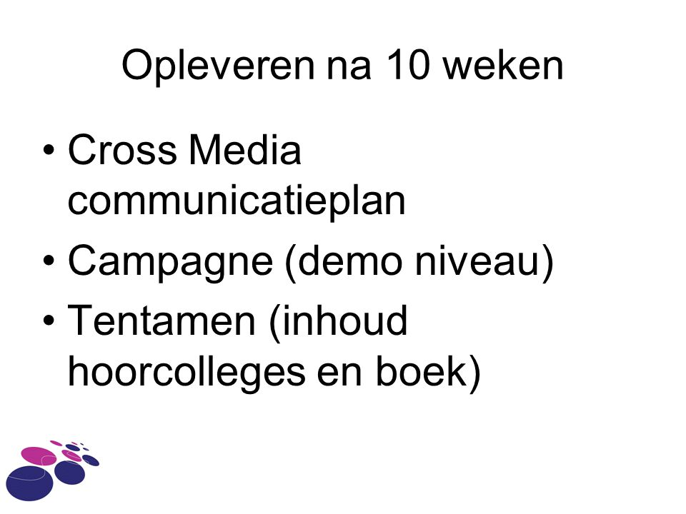 Opleveren na 10 weken Cross Media communicatieplan.