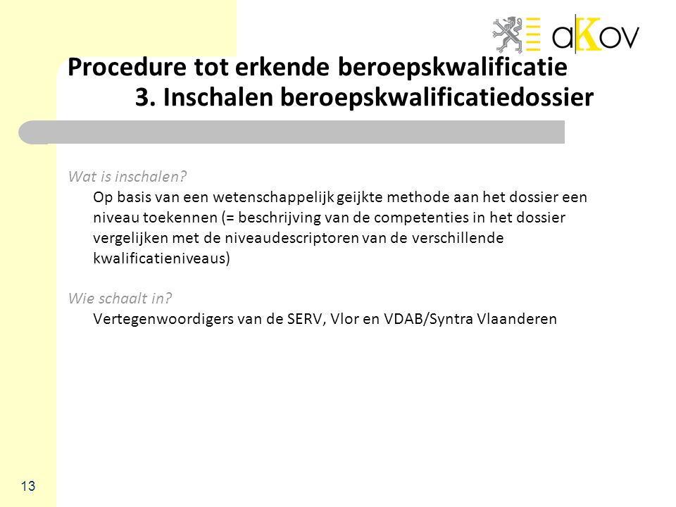 Procedure tot erkende beroepskwalificatie. 3