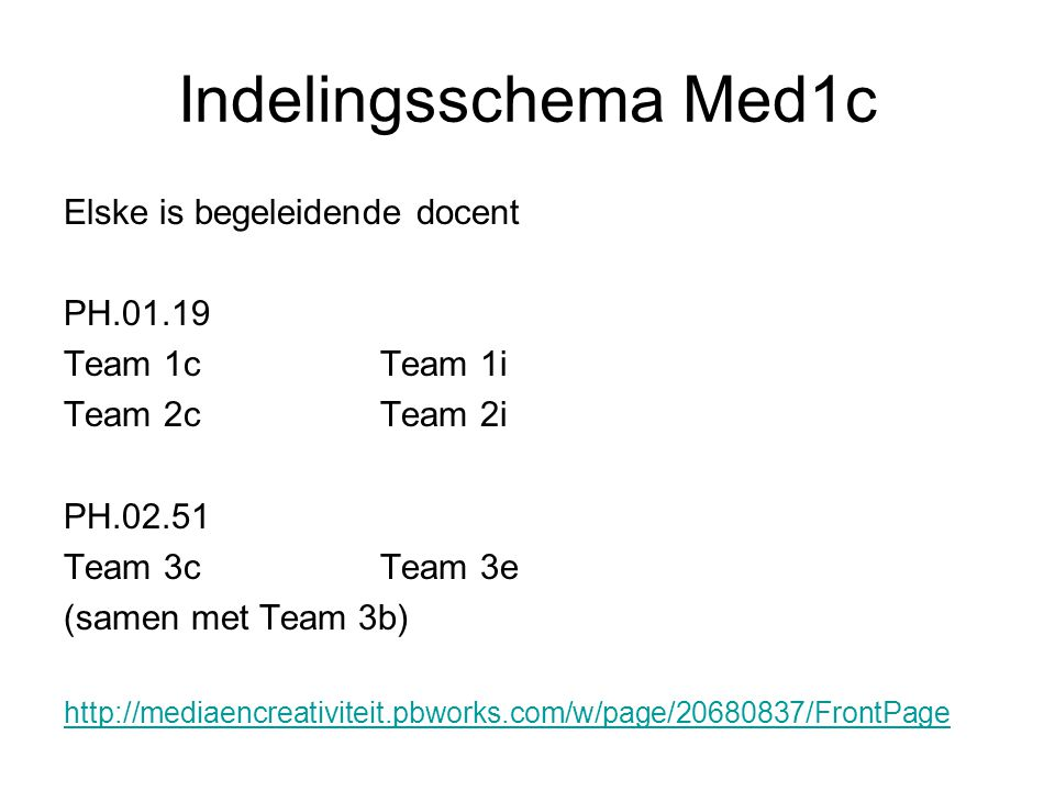 Indelingsschema Med1c Elske is begeleidende docent PH.01.19