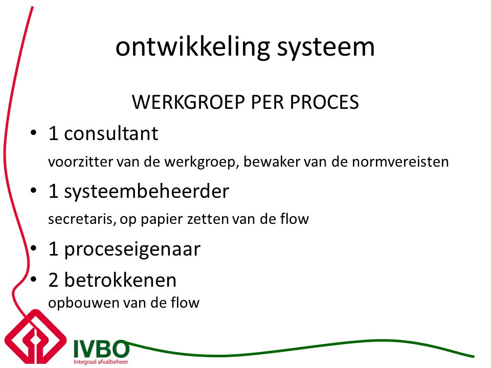 ontwikkeling systeem WERKGROEP PER PROCES 1 consultant