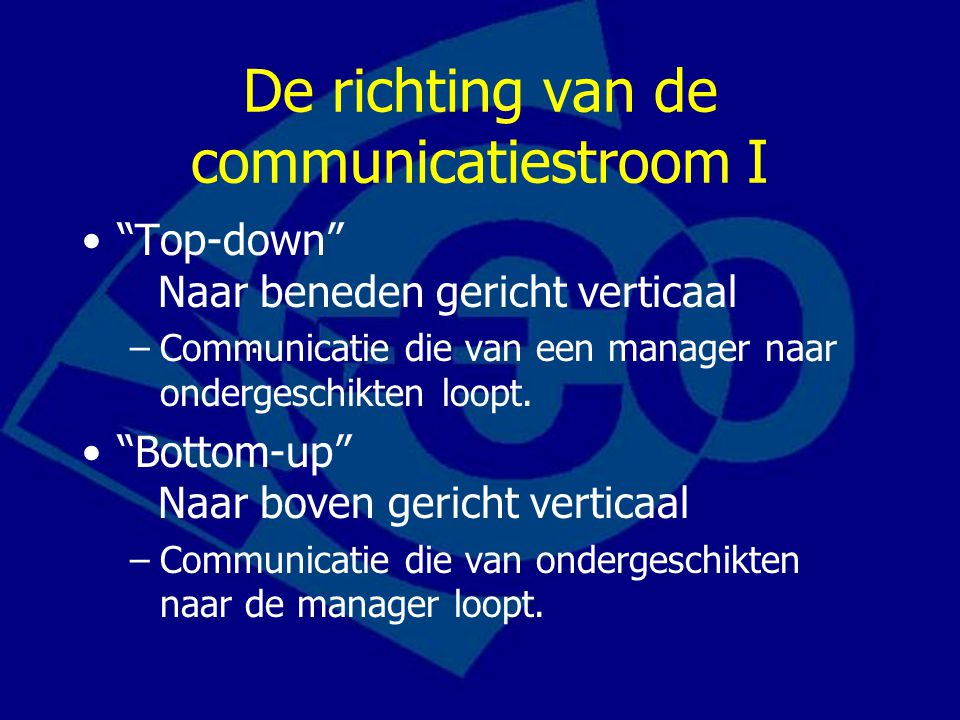 De richting van de communicatiestroom I