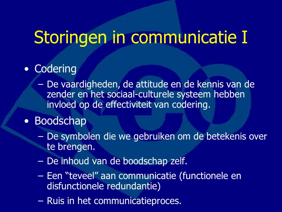 Storingen in communicatie I