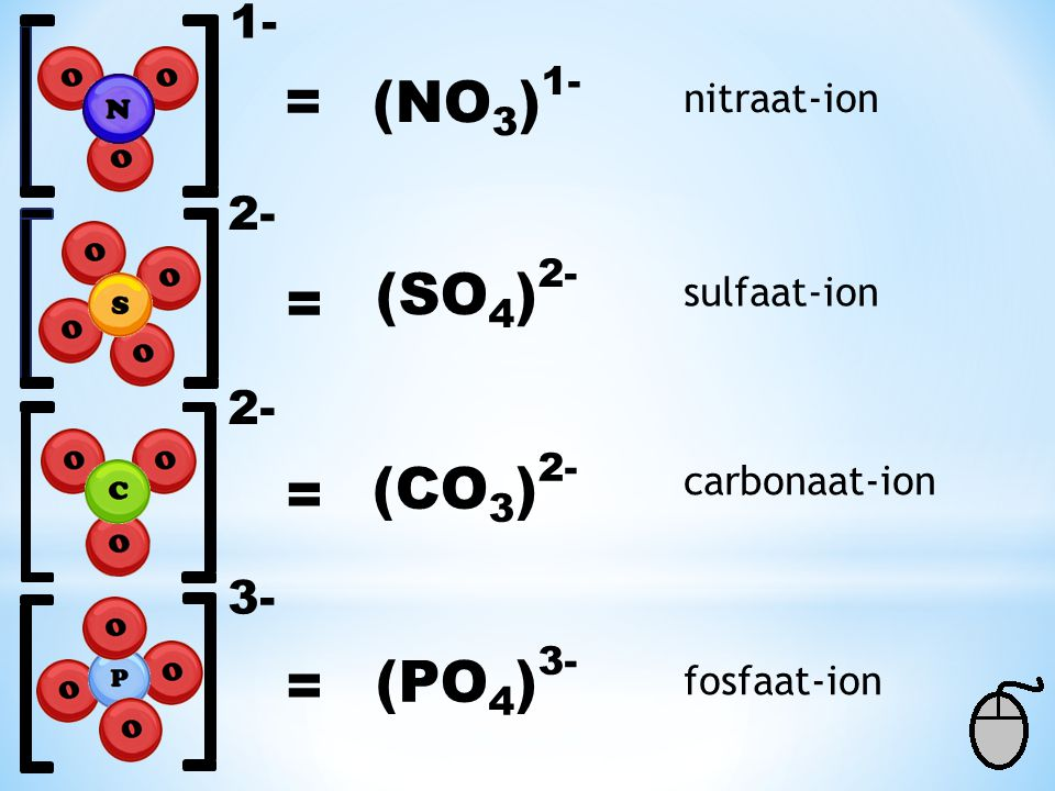 = (NO3)1- (SO4)2- = (CO3)2- = = (PO4) nitraat-ion