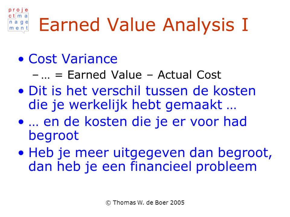 Earned Value Analysis I