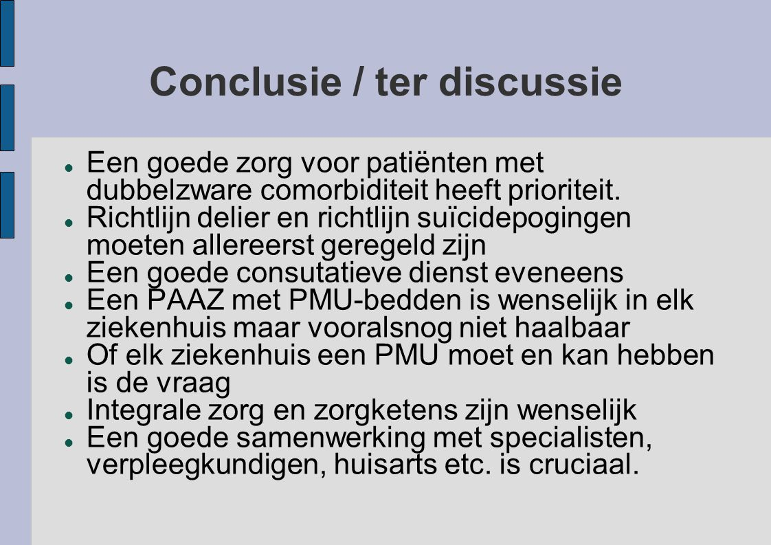 Conclusie / ter discussie