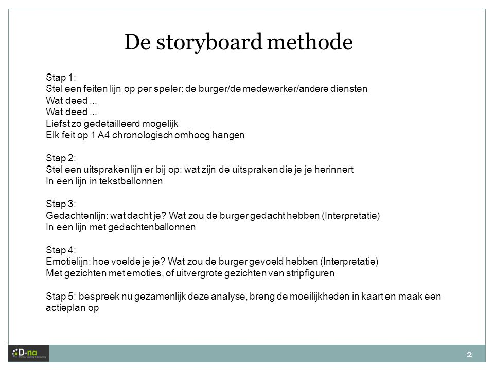 De storyboard methode Stap 1: