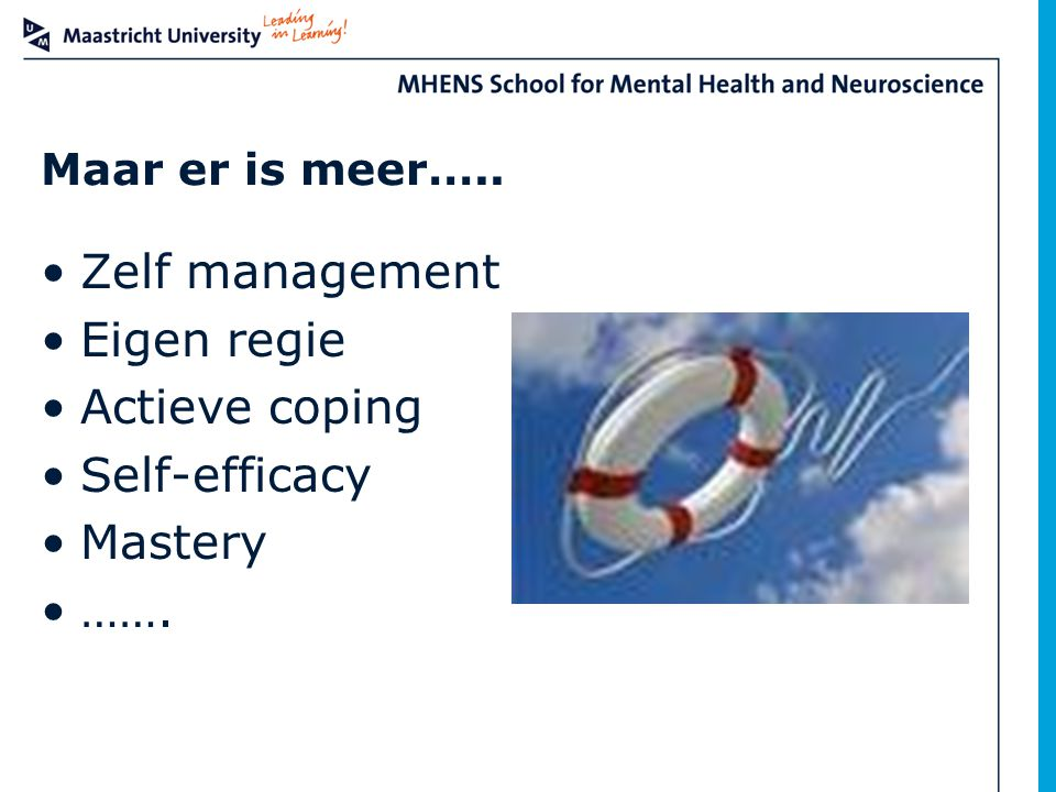 Zelf management Eigen regie Actieve coping Self-efficacy Mastery …….
