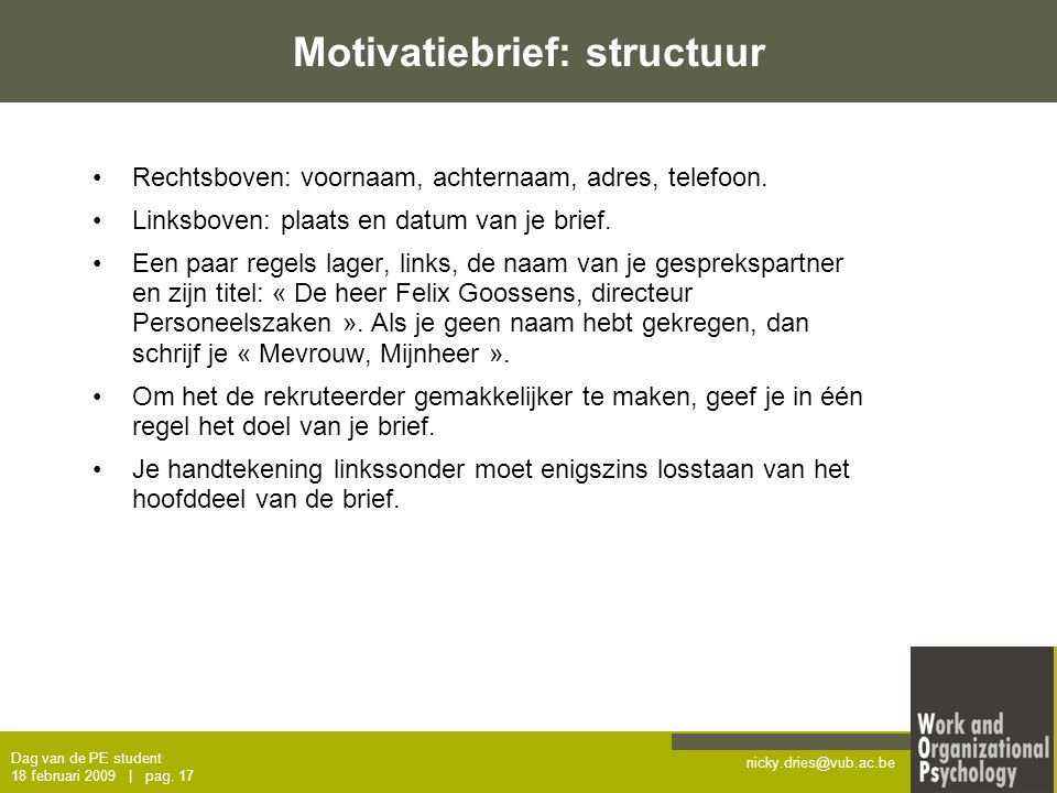 structuur motivatiebrief Sollicitatietraining – dag van de PE student   ppt download structuur motivatiebrief