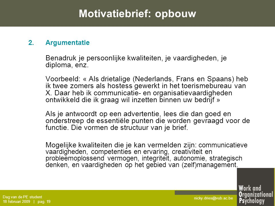 motivatiebrief beurs Sollicitatietraining – dag van de PE student   ppt download motivatiebrief beurs