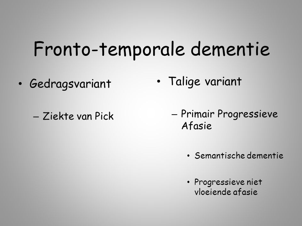 taalstoornissen bij fronto-temporale dementie - ppt download