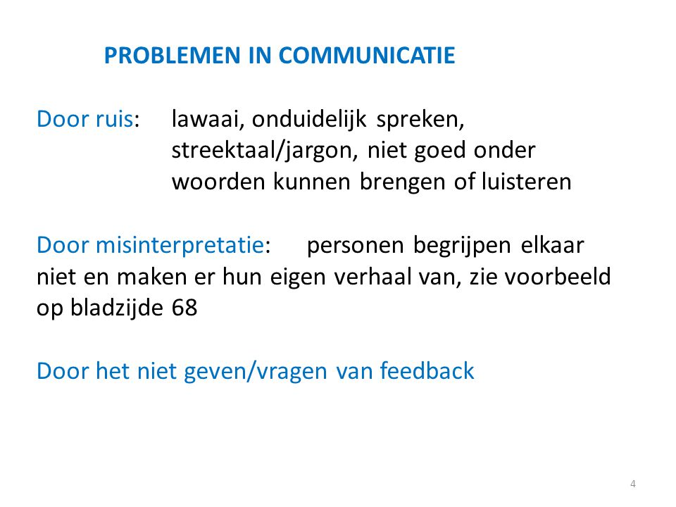 PROBLEMEN IN COMMUNICATIE