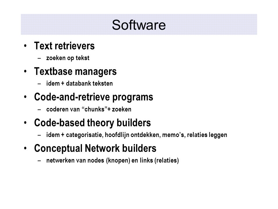 Software Text retrievers Textbase managers Code-and-retrieve programs