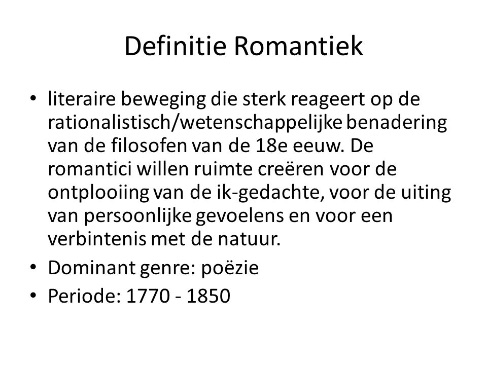 Definitie Romantiek