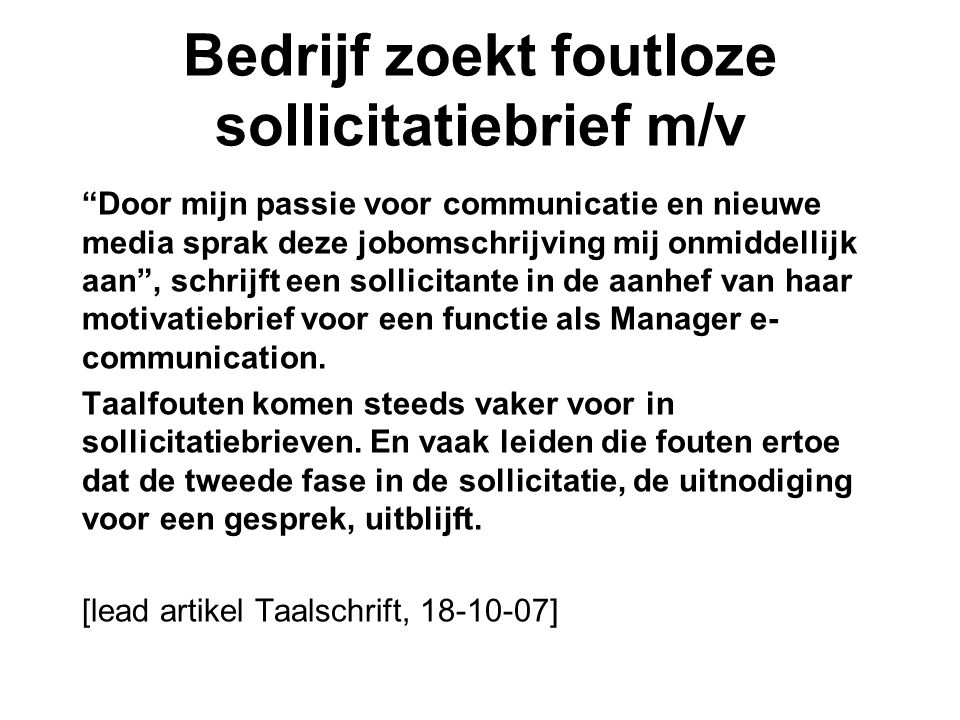 motivatiebrief voor albert heijn Sollicitatiebrieven.   ppt video online download
