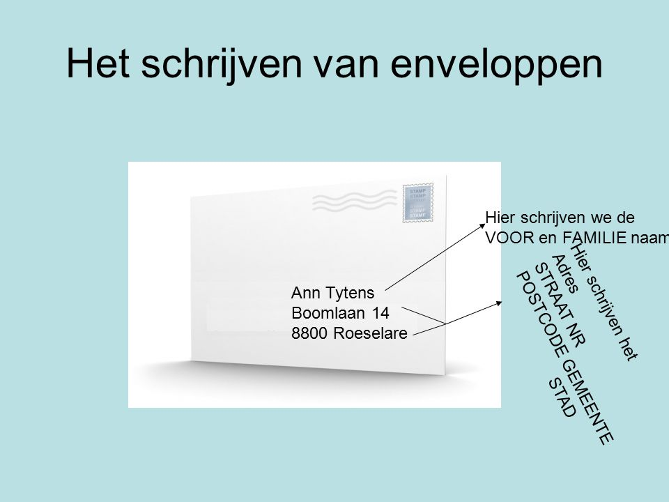 envelop sollicitatiebrief Oefeningen op beleefdheid ( les 14 ) Mevrouw H. CRIVETS   ppt  envelop sollicitatiebrief
