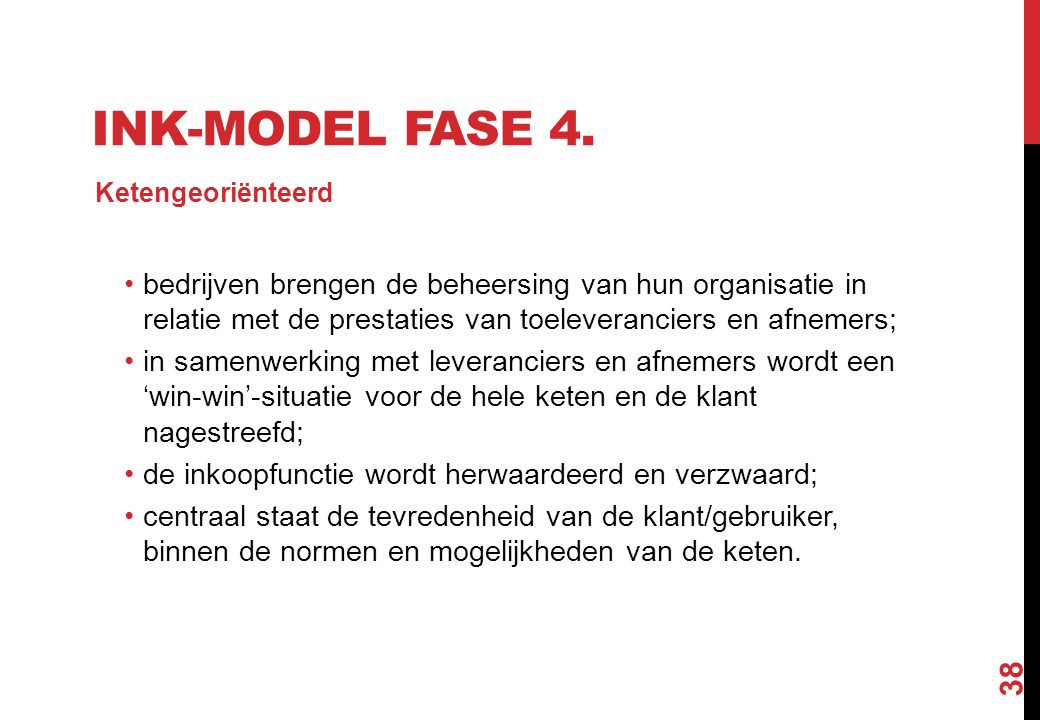 INK-model fase 4. Ketengeoriënteerd.