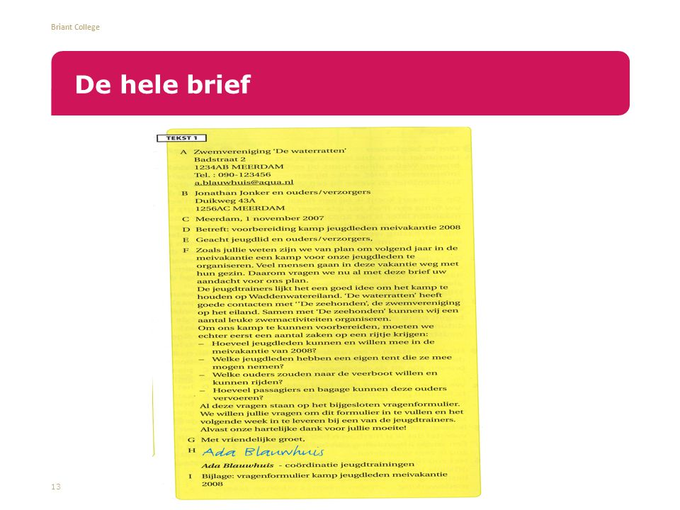 De hele brief