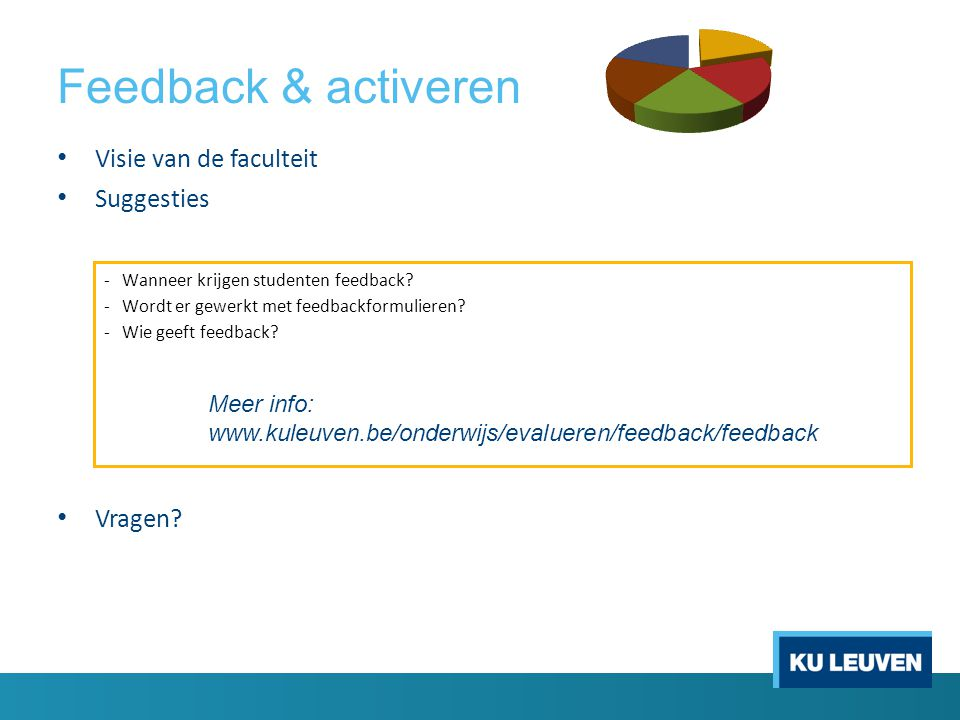 Feedback & activeren Visie van de faculteit Suggesties Vragen