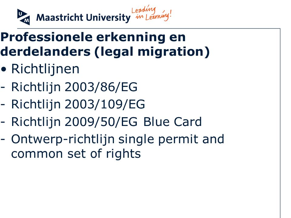 Professionele erkenning en derdelanders (legal migration)