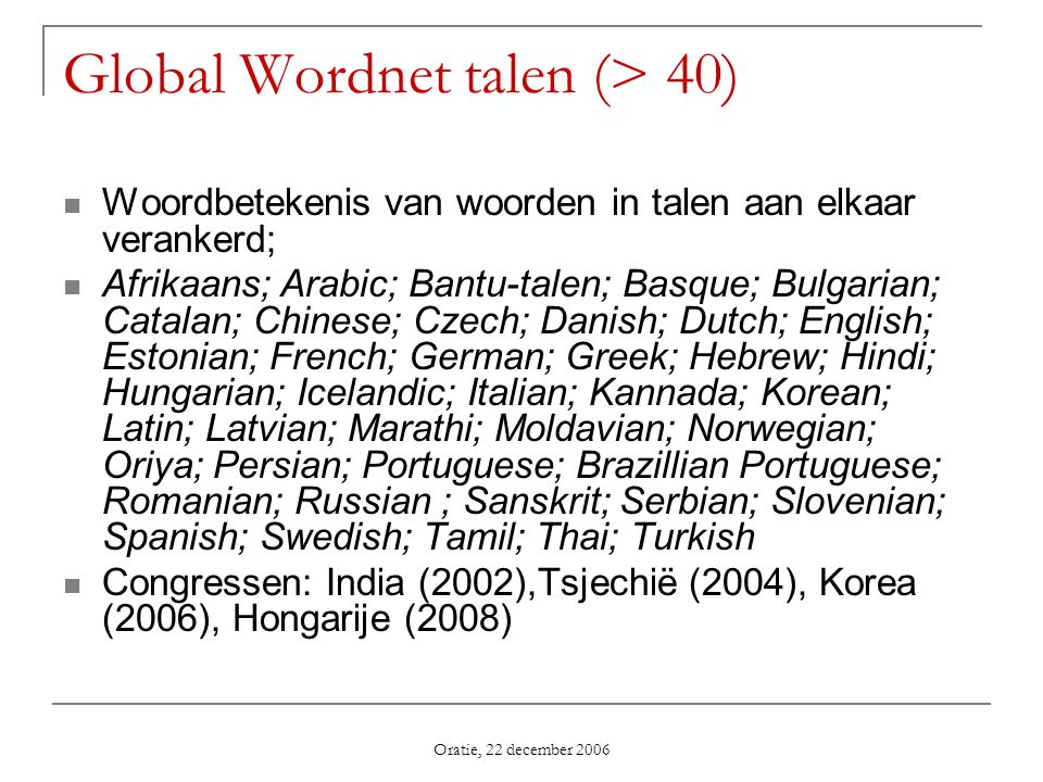 Global Wordnet talen (> 40)