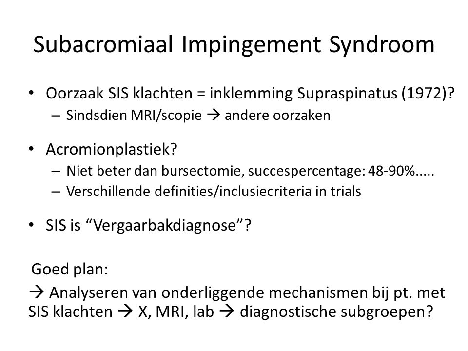 Subacromiaal Impingement Syndroom