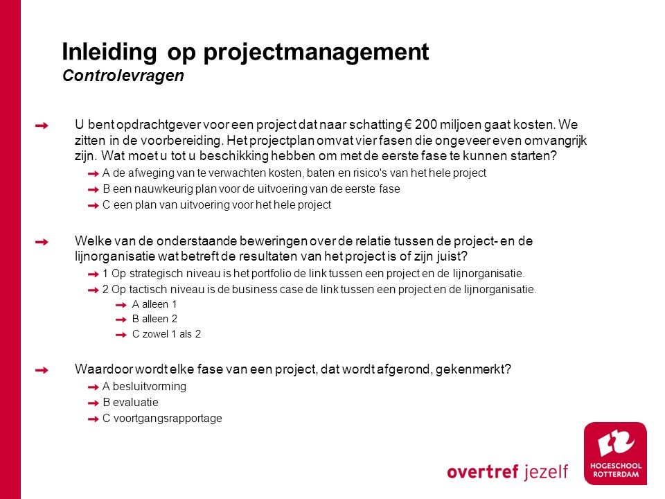 Inleiding op projectmanagement Controlevragen