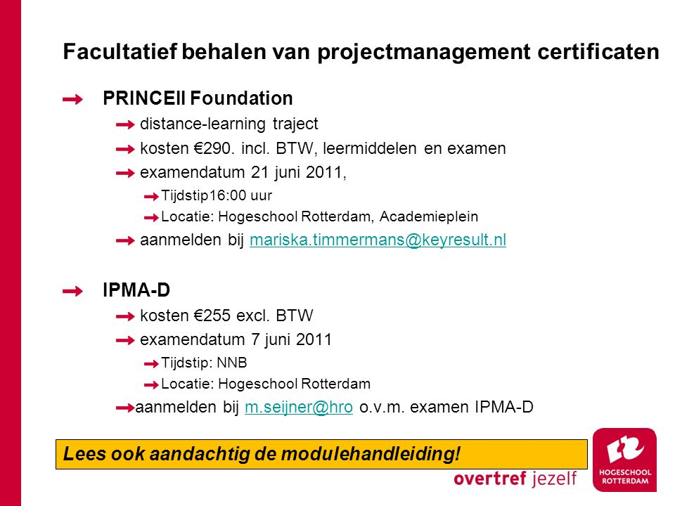 Facultatief behalen van projectmanagement certificaten